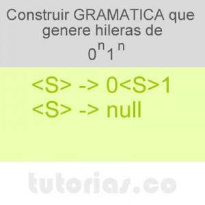 gramaticas: gramatica 0n1n
