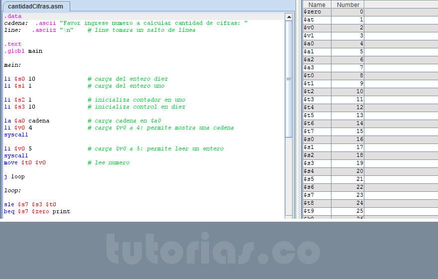 programación assembly: cantidad cifras de un numero