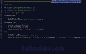 programacion en python: ecuacion de segundo grado