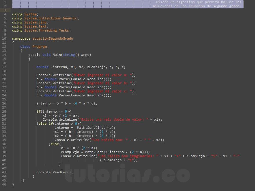 programacion en visualStudio: ecuacion de segundo grado