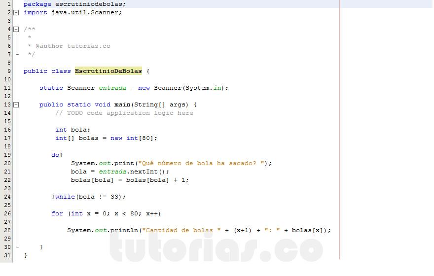 programacion en java: el escrutinio de bolas