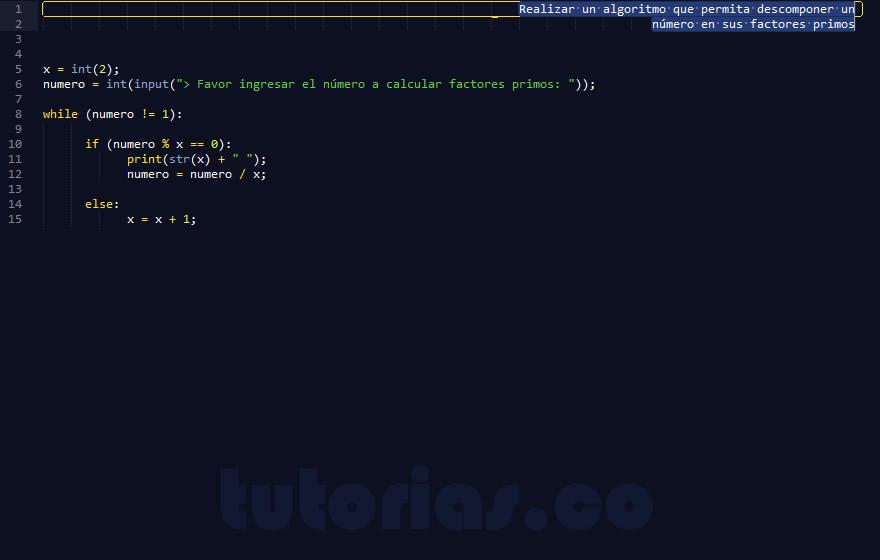 programacion en python: factores primos