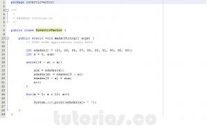programacion en java: invertir un vector