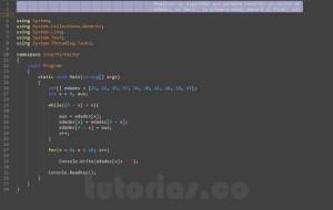programacion en c#: invertir un vector