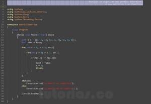 programacion en c#: determinar matriz simetrica