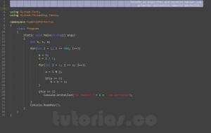 programación en visualStudio: números perfectos