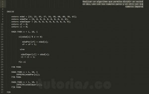 algoritmos: particionar un vector