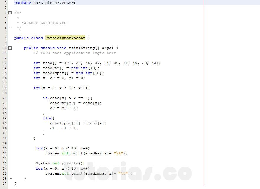programacion en java: particionar un vector