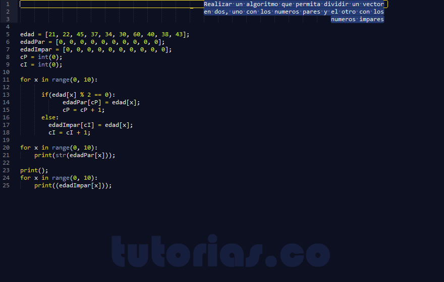 programacion en python: particionar un vector