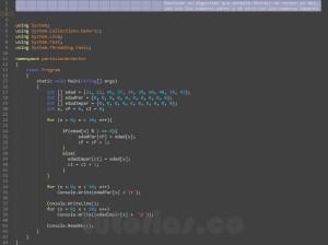 programacion en c#: particionar un vector