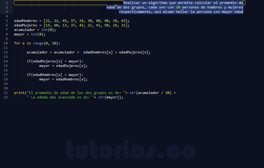 programacion en python: promedio de edad en vector