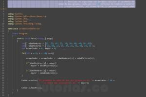 programacion en visualStudio: promedio de edad en vectores