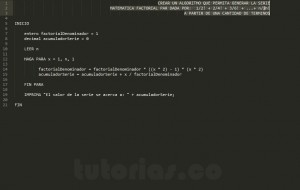 algoritmos: sobrepasar serie matemática factorial par