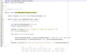 programacion en java: serie matematica factorial par