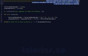 programacion en python: sobrepasar serie matematica factorial par