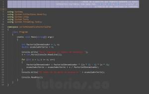 programacion en visualStudio: serie matematica factorial par