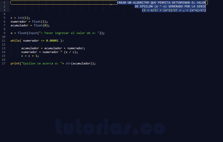 programacion en python: sobrepasar serie matematica epsilon