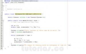 programacion en java: sobrepasar valor por serie matematica factorial