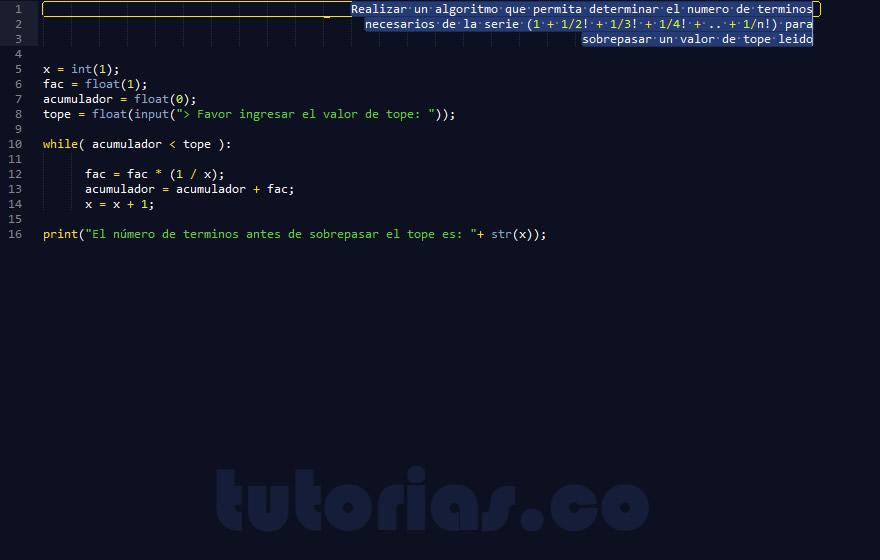 programacion en python: sobrepasar un valor por serie matematica factorial