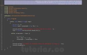 programacion en c#: sobrepasar un valor por serie matematica factorial