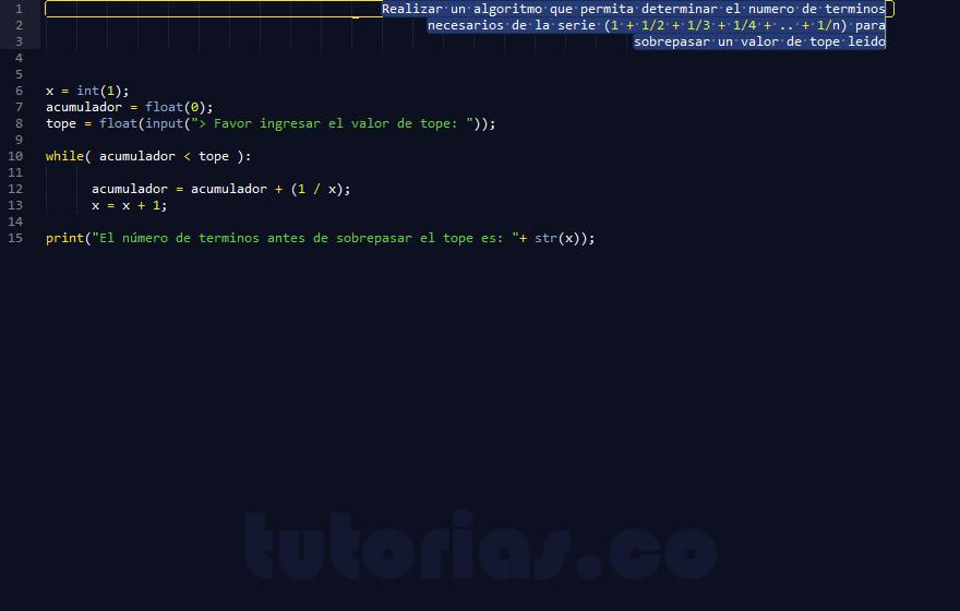 programacion en python: sobrepasar valor por serie matematica