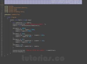 programacion en visualStudio: suma de cifras