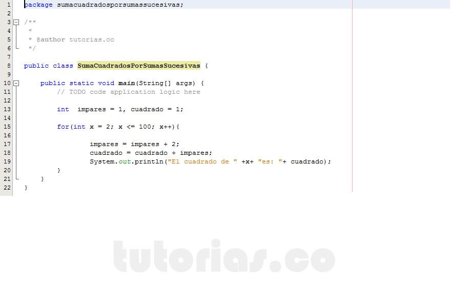 programacion en java: suma de cuadrados por sumas sucesivas