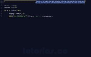 programacion en python: suma de cuadrados por sumas sucesivas