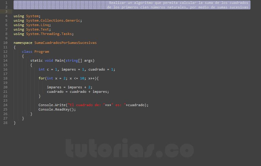programacion en c#: suma de cuadrados por sumas sucesivas