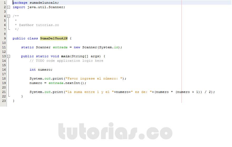 programacion en java: la suma del 1 al n