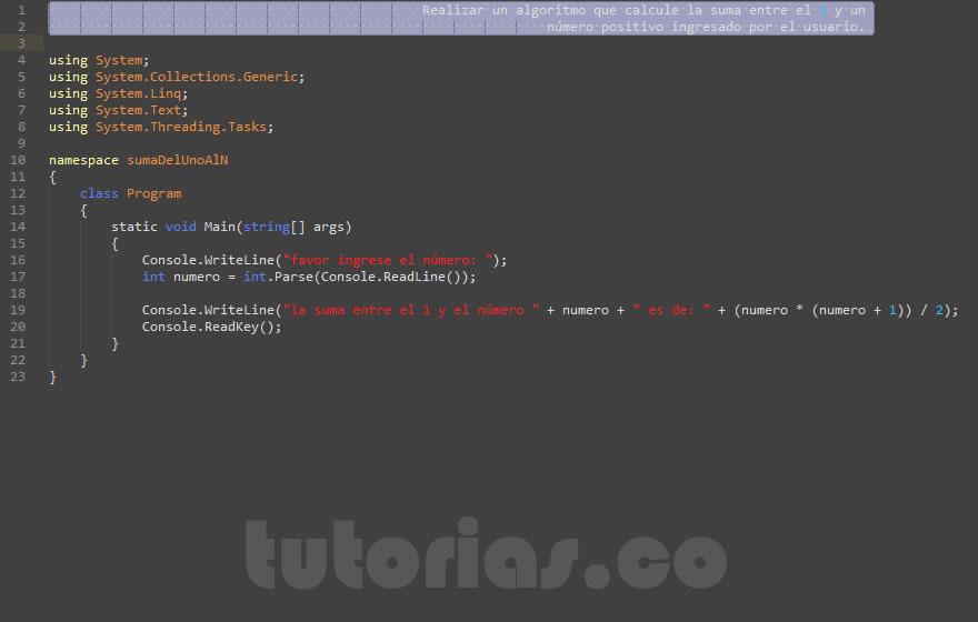 programacion en c#: la suma del 1 al n