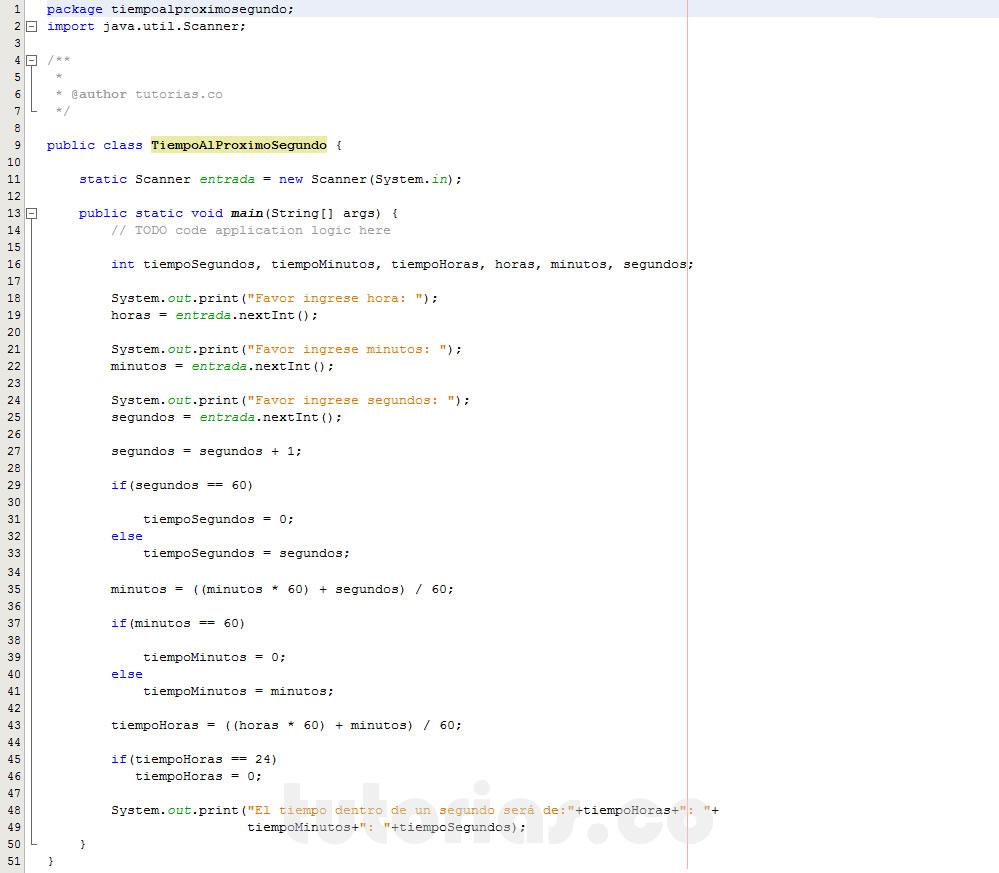 programacion en java: el tiempo al proximo segundo