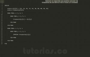 algoritmos: traspuesta de una matriz