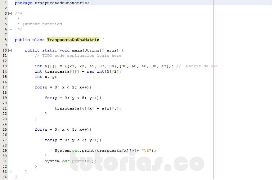 programacion en java: traspuesta de una matriz