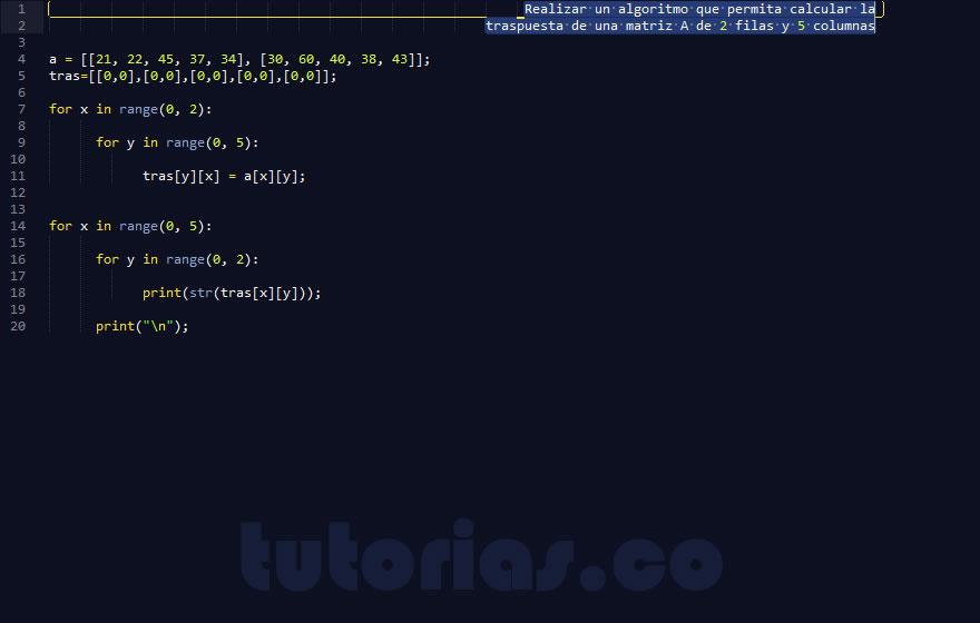 programacion en python: traspuesta de una matriz