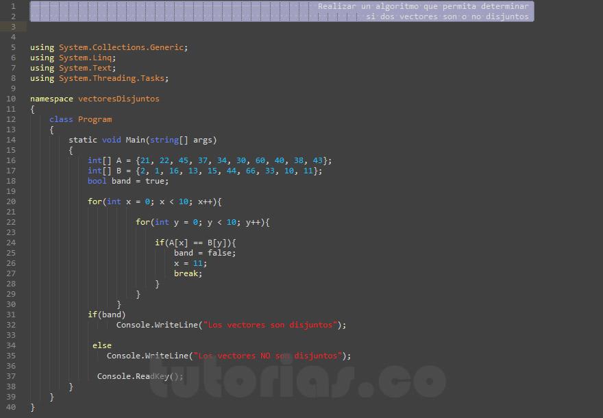 programacion en visualStudio: vectores disjuntos