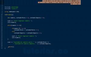 programacion en C++: cantidad de numeros pares e impares