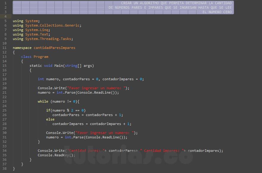 programacion en c#: cantidad de numeros pares e impares