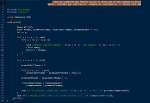 programacion en C++: resultado carrera atletica
