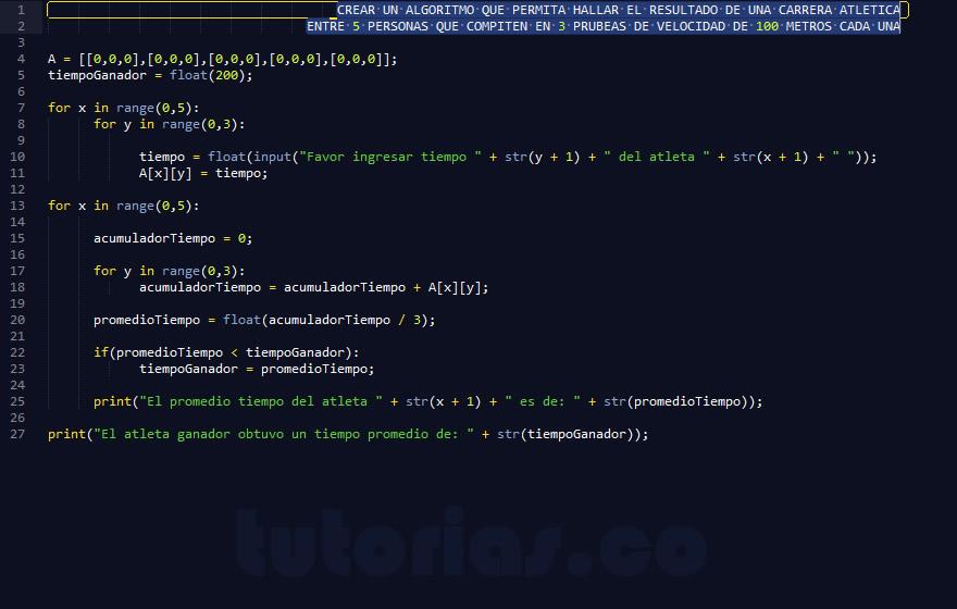 programacion en python: resultado carrera atletica