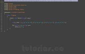 programacion en c#: generar la matriz identidad