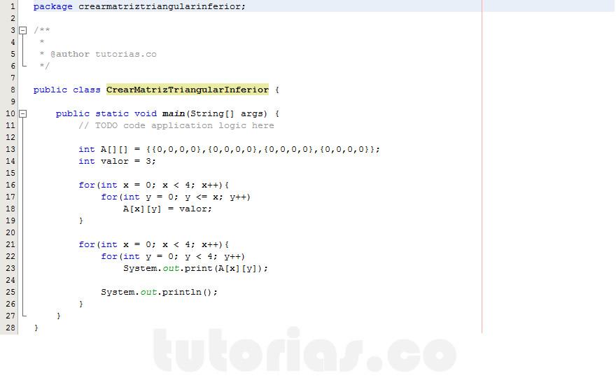 programacion en java: crear matriz triangular inferior