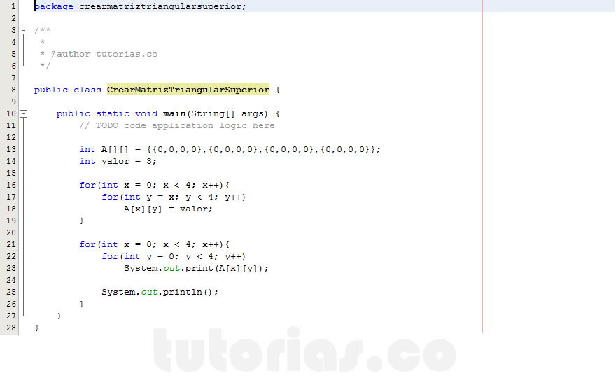 programacion en java: crear matriz triangular superior