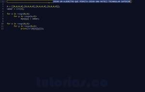 programacion en python: crear matriz triangular superior