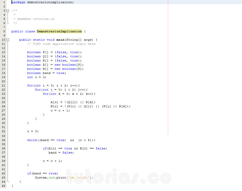 programacion en java: demostracion implicacion logica