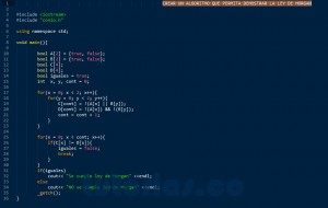 programacion en C++: demostrar ley de morgan