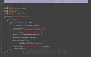 programacion en c#: division por restas sucesivas