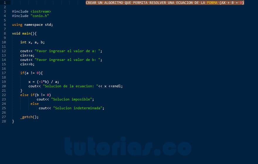 programacion en C++: ecuacion de primer grado