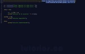 programacion en python: ecuacion de primer grado