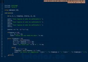 programacion en C++: ecuacion de segundo grado
